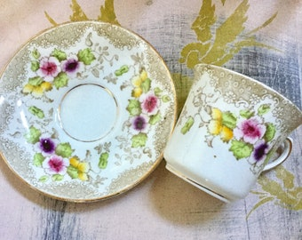 Very Early Royal Albert Crown tea duo, 1917 Love Lace pattern.