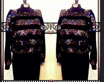 Vintage Sequin Party Sweater Kitty Hawk by Vivian Wang, Size Medium / Large  1980's Oversized Sequin New Years Eve Sweater, 80's Sequin Crop