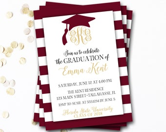 Monogram Graduation Invitation, Garnet Graduation Invitation, Garnet and Gold Graduation, Maroon Graduation, Class of 2017, DIY Printable