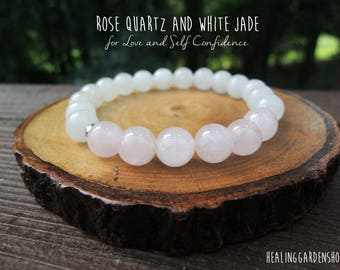 Love and Health // White Jade and Pink Rose Quartz Bracelet // Energy Bracelet // Attracting Love // Reiki Infused // by Healing Garden Shop