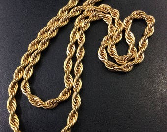"Gold plated rope chain 23"" necklace"