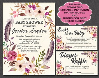 Floral Boho Baby Shower Invitation, Editable, Tribal Feathers Books for Baby card and Diaper Raffle card, You edit instant download 023