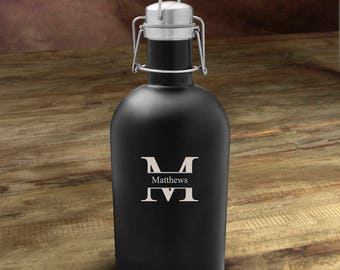 Personalized growlers beer stainless monogrammed customized monogram engraved custom barware to go jug containers bottles glass growler