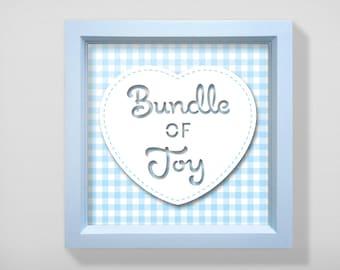Baby shower, New Birth framed gift - Bundle of Joy, blue