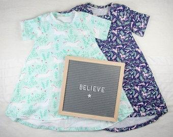 Baby Girl Dress - Girls Unicorn Dress - Little Girls Dress - Toddler Girl Dress - T Shirt Dress - Girls Clothes - Toddler Clothes Handmade