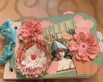 Junk Journal, Smile Album, Smash Book, Mini Scrapbook. Seven Embellished Pages With Room to Add Messages and Journalling on the Back.