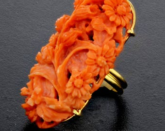 Carved Coral Ring