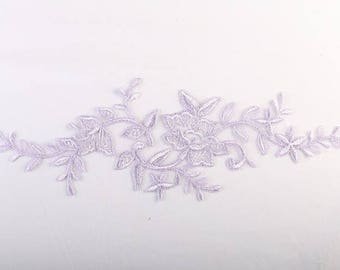 1 apply Super organza lace 31 cm X 11 cm purple/violet/purple