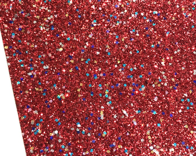 Red Magic Glitter Fabric Chunky A4 or A5 Sheets