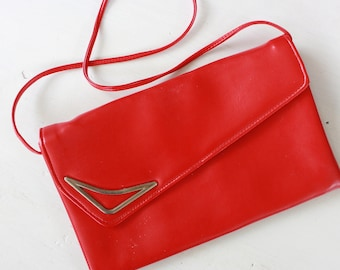80's Retro Red Patent Leather Clutch Purse
