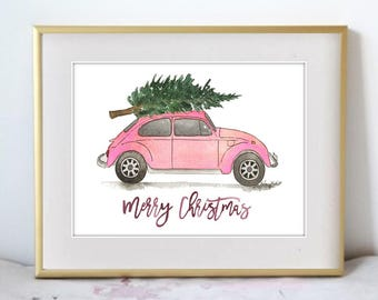A Christmas Drive, Watercolor Painting Print, Seasonal Home Decor, Holiday wall art for the home, Christmas decor, tree car art