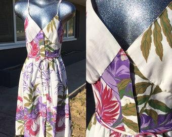 Size 4 Tropical Print White Sundress Floral print purple green spaghetti strap short dress  Small cotton