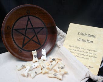 Bone Witch/Gypsy Runes & Casting Bowl - Engraved Divination, Psychic Reading, Druid, Wicca