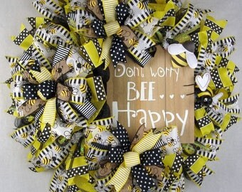 Bumble Bee Mesh Wreath, Don't Worry Bee Happy Mesh Wreath, Honey Bee Wreath, Front Door Wreath