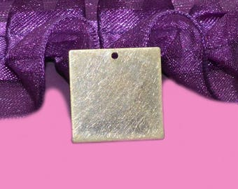 10 plates square tag charms 20mm brass bronze