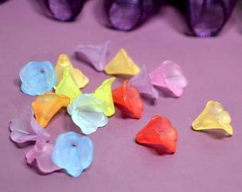 40 beads 10x10mm mixed color lucite flowers