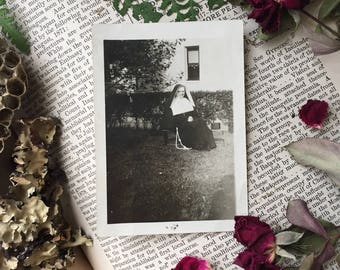 1926 Relaxing Nun- Antique Vintage Photograph, Black and White Religious Photo from 1920's