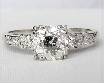 PLATINUM 1.07 Carat VVS2 Diamond Engagement Ring! Absolutely STUNNING Old European Cut Diamond Ring - GIA Graduate Appraisal Incl 6,410 Usd!