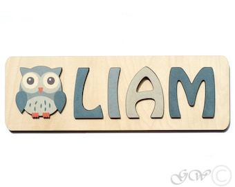 Personalized Name with Owl, Puzzle Name, Personaziled Toy, Personalized Baby Name, wooden custom name puzzle