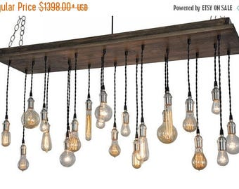 FLASH SALE Urban Chandelier With Edison Bulb Pendants - Rustic Ceiling Light, Urban Lighting, Urban Hanging Light