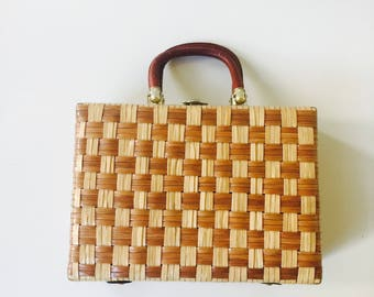 Vintage Box Handbag Plastic Coated Basket Weave Leather Handles