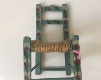 Vintage Mexican Chair Miniature Hand Painted With Straw Seat