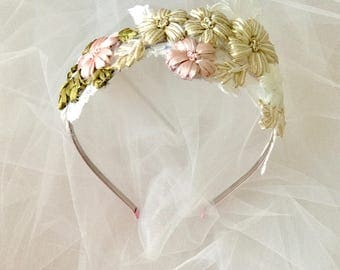 Bridal Headpiece ,Flower Headpiece ,Bridal Wreath, pink headpiece , Flower Headband, Wedding headpiece, Blush Headpiece- JUMP FOR JOY