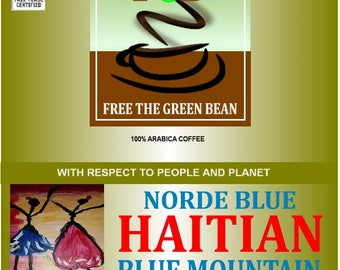 Norde Blue HAITIAN BLUE MOUNTAIN Coffee,  a  Fair Trade Organic Coffee with bold, thick chocolate and notes of caramel.