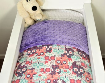 Bassinet quilt and/or fitted sheet - Sugar skulls (purple/pink/mint) AND purple minky