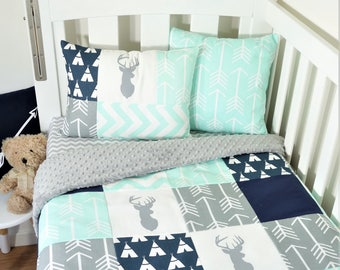 Mint, navy and grey deer patchwork nursery items (grey minky quilt backing)