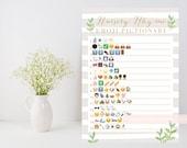 Neutral Baby shower game, Nursery Rhyme quiz Emoji Pictionary printable, leafy green, neutral stripe shower game, INSTANT DOWNLOAD 012