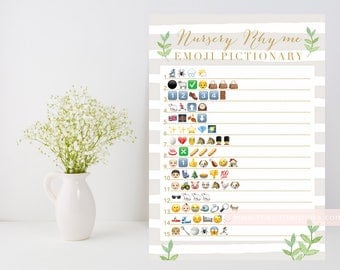 Neutral Baby shower game, Nursery Rhyme quiz Emoji Pictionary printable, leafy green, neutral stripe shower game, INSTANT DOWNLOAD 012
