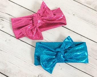 Sparkle Headwrap, Mermaid Headband, Princess Headwrap, Pink, Turquoise Blue, Knot Headband, Adjustable Headband, Baby Girl, Newborn, Kid's