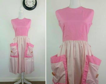 1950s Pink Gingham cotton House Dress Pockets