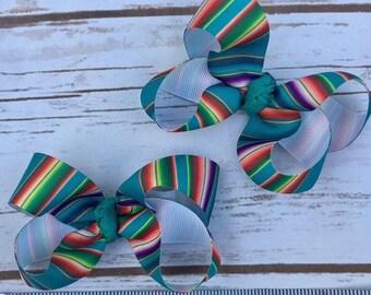 Serape Twisted Mini pigtail bow set
