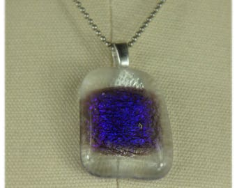 Kiln fused clear and blue recycled glass necklace
