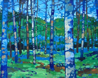 Through the Blue Birches (Print)
