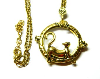 Happy cat pendant, Magnifying glass, Victorian monocle, Antique golden jewelry, Wonderful jewellery chain, reading glass, grandmother gift