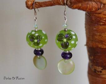 Glass Lampwork earrings * flower * green/purple - silver hooks murano glass earrings - dangle glass earrings