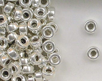 Sterling Silver 8mm Plain Round Tire Spacer Beads, Choice of Lot Size