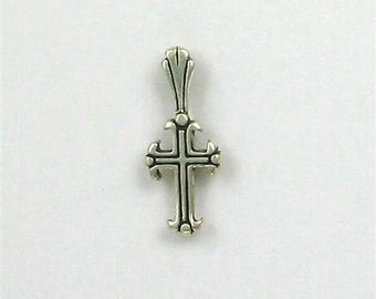 Sterling Silver Cross Fleur Charm