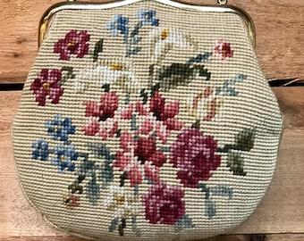 Vintage 1950s Kisslock Needlepoint Tapestry Handbag Vtg Embroidered Floral Carpet Frame Purse Clutch with Chain
