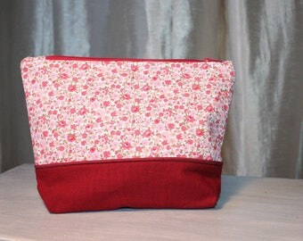 liberty and cotton printed fabric bag pink and Burgundy