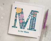 Floral M card - Mum, Mom, Mam or Mother - Mother's Day card – papercut Mother's Day card - card for Mother - card for Mum - Monogram M card