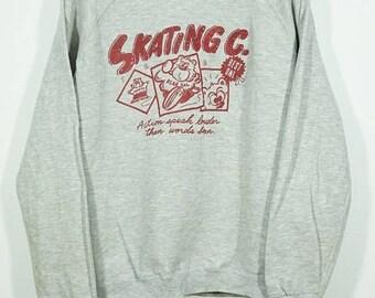 BiG SaLe Vintage Skating Bear Pal Sweater Size Medium M / Vintage Bear sweater / vintage bear sweatshirt / Skating Sweater / Skate Sweater
