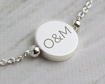 Silver Plates Personalised Initial Bracelet - Gift for Her