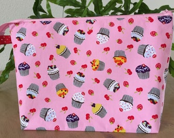 "Zippered Knitting Project Bag ""Cupcakes"", Crochet Project Bag, Yarn Project Bag, Sock Knitting Bag, Yarn Lovers, Gift for Knitters"