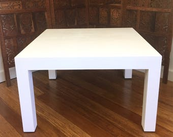 Vintage Grasscloth Parsons Coffee Table, Square White Modern Coffee Table,  Woven Table, Classic