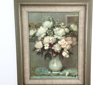 Marcel Dyf Replica Framed Floral Painting, Impressionist Art Painting, Reproduction Framed Mid Century, Impressionism, Still Life Flowers
