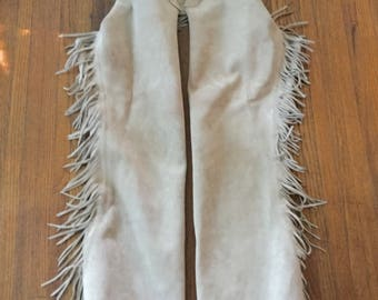 Vintage Tan Suede Leather Fringe Western Cowboy Chaps Silver Embellishment